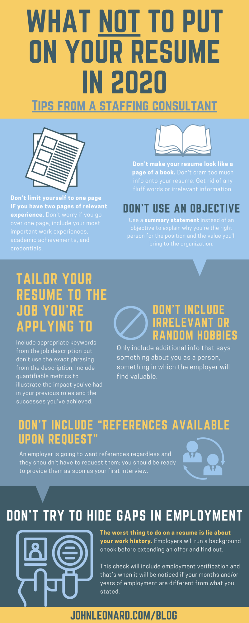 what not to put on your resume in 2020